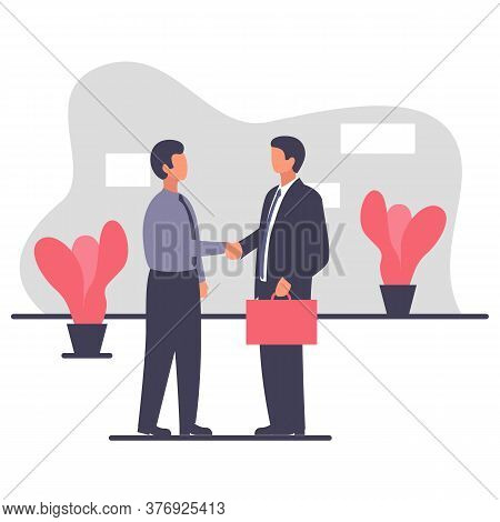 Two Buisenessman Shaking Hands In The Office Interior. Vector Illustration Of Two Men In Suits And W