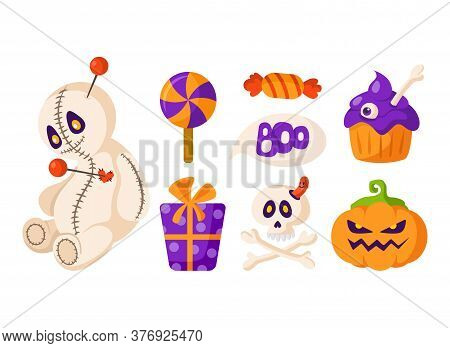Halloween Cartoon Set - Voodoo Doll And Pumpkin Lantern Jack, Scary Scull And Bones, Candy Or Lollip