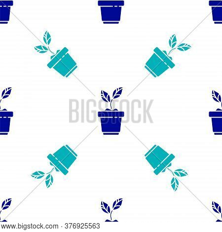Blue Plant In Pot Icon Isolated Seamless Pattern On White Background. Plant Growing In A Pot. Potted