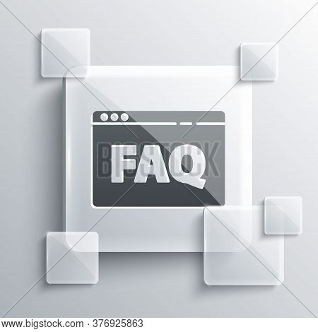 Grey Browser Faq Icon Isolated On Grey Background. Internet Communication Protocol. Square Glass Pan