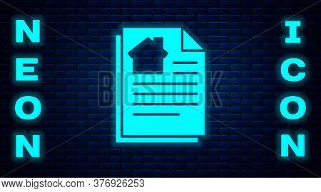 Glowing Neon House Contract Icon Isolated On Brick Wall Background. Contract Creation Service, Docum