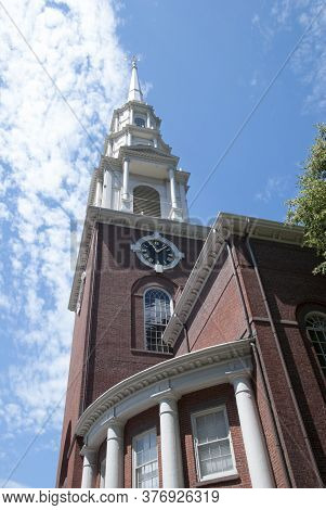 The View Of Historic City Hall Clock Tower In Boston Old Town (massachusetts).