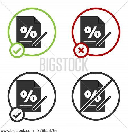 Black Finance Document Icon Isolated On White Background. Paper Bank Document For Invoice Or Bill Co