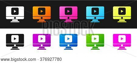 Set Online Play Video Icon Isolated On Black And White Background. Computer Monitor And Film Strip W