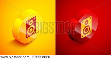 Isometric Stereo Speaker Icon Isolated On Orange And Red Background. Sound System Speakers. Music Ic