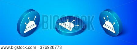 Isometric Needle Bed And Needles Icon Isolated On Blue Background. Handmade And Sewing Theme. Blue C