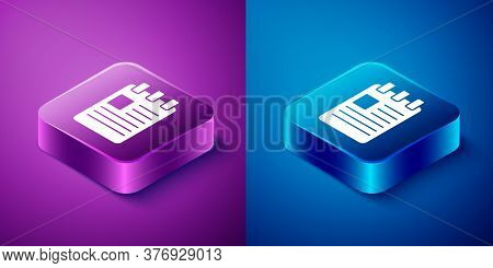 Isometric Notebook Icon Isolated On Blue And Purple Background. Spiral Notepad Icon. School Notebook