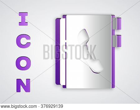 Paper Cut Address Book Icon Isolated On Grey Background. Notebook, Address, Contact, Directory, Phon