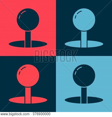 Pop Art Push Pin Icon Isolated On Color Background. Thumbtacks Sign. Vector Illustration
