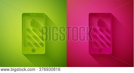 Paper Cut Mobile Phone And Graphic Password Protection Icon Isolated On Green And Pink Background. S