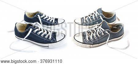 New And Old Blue Generic Sneakers Isolated On White Background