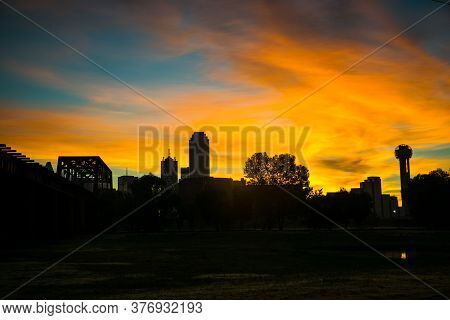 Sunrise Over Dallas Texas Amazing Colorful Display Of A Silhouette Outline Of The Skyscrapers Of The