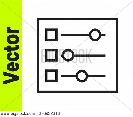 Black Line Car Settings Icon Isolated On White Background. Auto Mechanic Service. Repair Service Aut