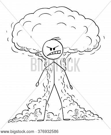 Vector Cartoon Stick Figure Drawing Conceptual Illustration Of Furious, Angry Raging Man Expressing