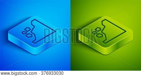 Isometric Line Landslide Icon Isolated On Blue And Green Background. Stones Fall From The Rock. Boul