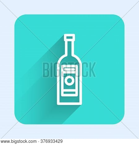 White Line Glass Bottle Of Vodka Icon Isolated With Long Shadow. Green Square Button. Vector Illustr