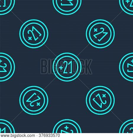Green Line Alcohol 21 Plus Icon Isolated Seamless Pattern On Blue Background. Prohibiting Alcohol Be