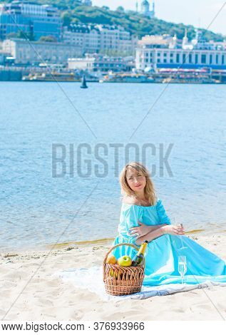 A Middle-aged Woman, Plus In A Light Blue Dress, Rests On A City Waterfront On A Day Off. The Concep
