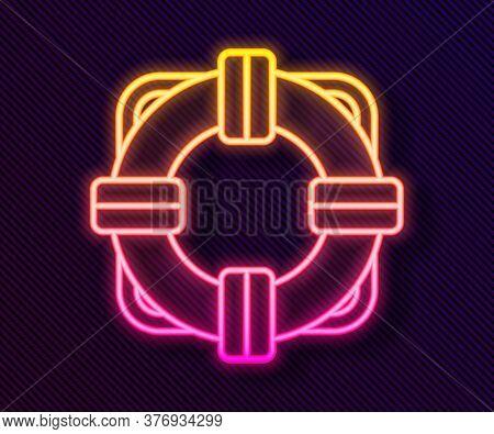 Glowing Neon Line Lifebuoy Icon Isolated On Black Background. Lifebelt Symbol. Vector Illustration