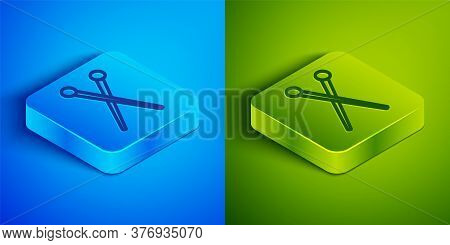 Isometric Line Knitting Needles Icon Isolated On Blue And Green Background. Label For Hand Made, Kni