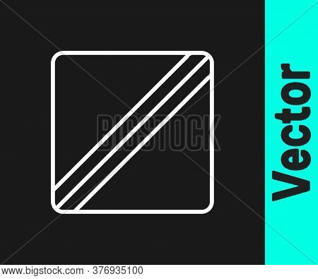 White Line Sewing Pattern Icon Isolated On Black Background. Markings For Sewing. Vector Illustratio