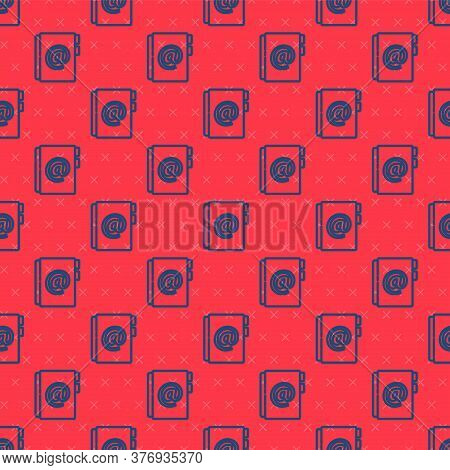 Blue Line Address Book Icon Isolated Seamless Pattern On Red Background. Notebook, Address, Contact,