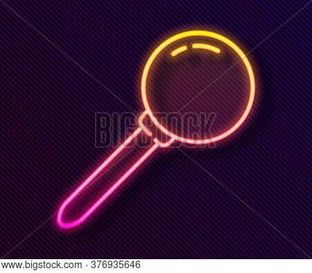 Glowing Neon Line Push Pin Icon Isolated On Black Background. Thumbtacks Sign. Vector Illustration