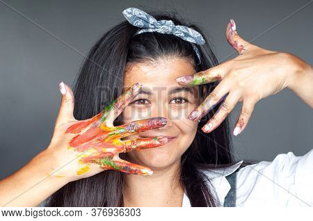 Happy Woman Hiding The Face With Her Painted Hands. Creative, Art, Drawing Concept