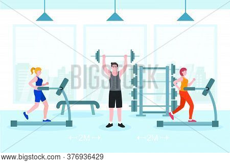 Social Distance In Normal Concept, People Men And Women Exercising. Prevent Pandemic Of Corona Virus