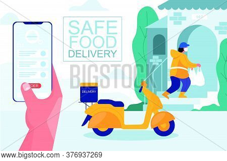 Online Safe Delivery Concept Design. Courier On Scooter In Medical Mask And Gloves, Delivers The Pac