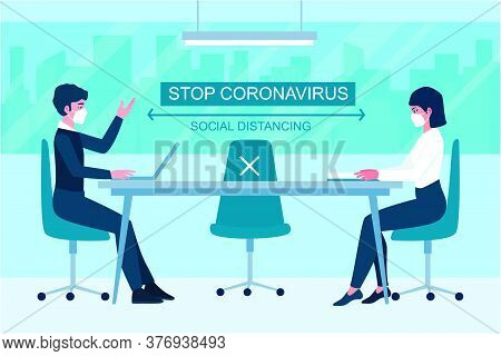 Business Meeting Lifestyle After Pandemic Covid-19 Corona Virus. New Normal Is Social Distancing And