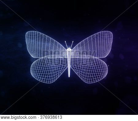 Abstract Neon Violet Polygonal Geometric Butterfly Consisting Of Lines. Wireframe Technology Structu