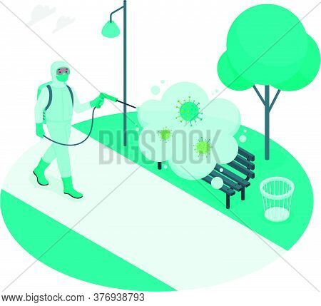Vector Illustration Of A Human Being In Personal Protective Equipment, Being Sprayed, Cleaned And Ki