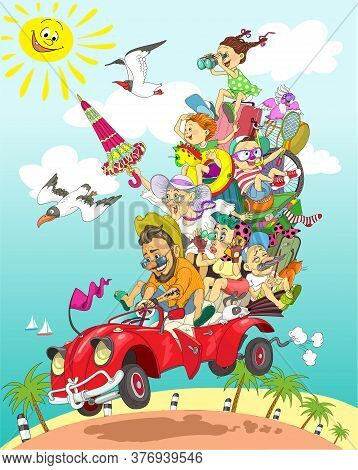 Vector. Humorous Bright Illustration. Cheerful Big Friendly Family Is Driving A Retro Car On Vacatio