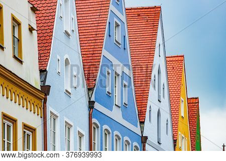 Oold Town Houses In Germany, Europe. Blue Cloudy Sky In Background