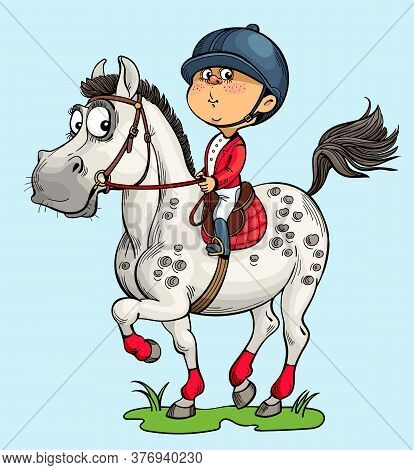 Vector Illustration. Funny Horseman. A Happy Child Is Engaged In Horse Riding. The Dream Of A Horse.