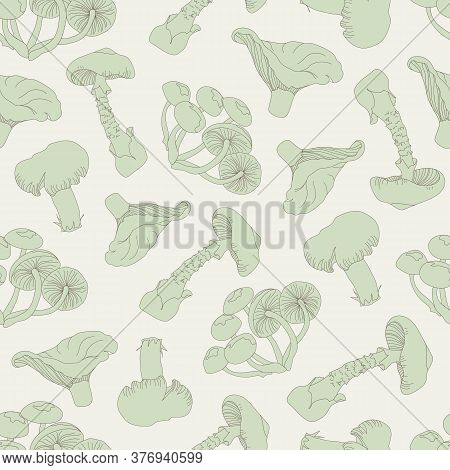 Seamless Mushroom Pattern. Drawn Mushrooms On A Light Background. Toadstools, Chanterelles, Honey Mu