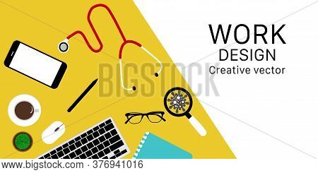Workplaces Flat Lay Modern Design Banner Website.top View Flat Lay Laptop , Coffee,phone, Pencil, Bo