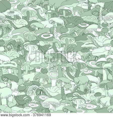 Seamless Green Mushroom Patern. Solid Background, Monochrome Contour Mushrooms. Endless Ornament For