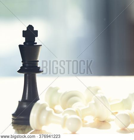 Knight Of Chess Win , Leader Success Concept
