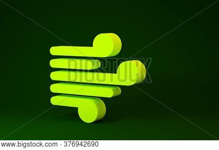 Yellow Wind Icon Isolated On Green Background. Windy Weather. Minimalism Concept. 3d Illustration 3d