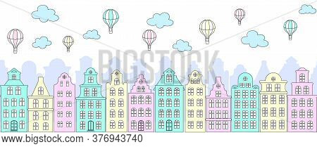 Colorful Street Panorama With European Old Buildings, Facades Of Historical Houses In The Dutch Styl