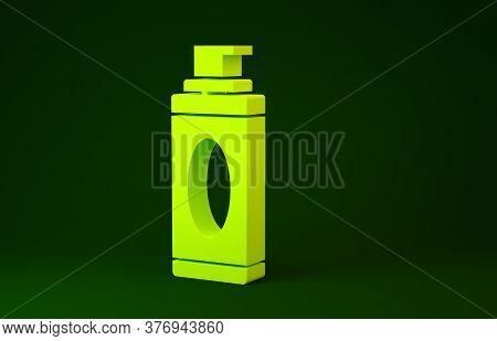 Yellow Shaving Gel Foam Icon Isolated On Green Background. Shaving Cream. Minimalism Concept. 3d Ill