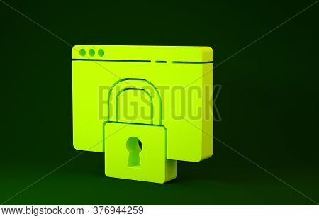 Yellow Secure Your Site With Https, Ssl Icon Isolated On Green Background. Internet Communication Pr