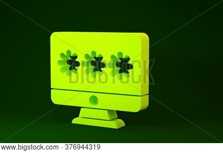 Yellow Monitor With Password Notification Icon Isolated On Green Background. Security, Personal Acce
