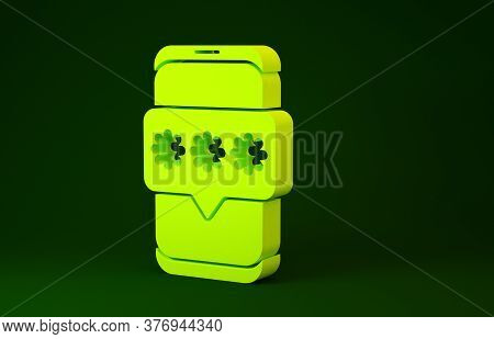 Yellow Mobile And Password Protection Icon Isolated On Green Background. Security, Safety, Personal