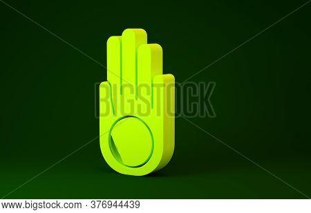 Yellow Symbol Of Jainism Or Jain Dharma Icon Isolated On Green Background. Religious Sign. Symbol Of