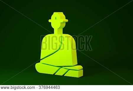 Yellow Buddhist Monk In Robes Sitting In Meditation Icon Isolated On Green Background. Minimalism Co