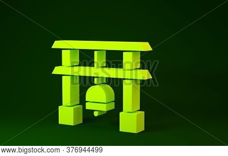 Yellow Japan Gate Icon Isolated On Green Background. Torii Gate Sign. Japanese Traditional Classic G