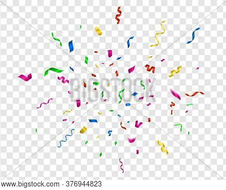 Bright Confetti. Vector Party Celebrate, Colorful Streamer. Fun Illustration Carnival Decor For Holi